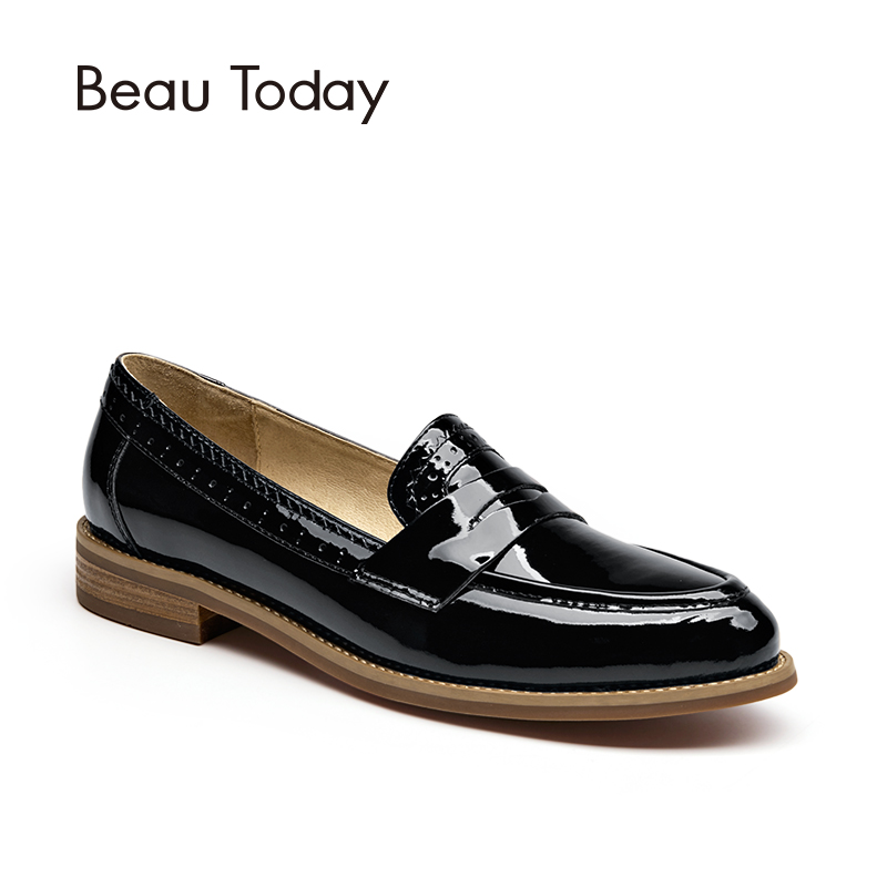 BeauToday Penny Loafers Women Top Quality Genuine Leather Shoes Patent Cowskin Pointed Toe Moccasin Fashion Ladies Flats 27044 top quality women flats genuine leather slip on women pointed toe loafers brand oxford shoes for women flat shoes ladies shoes