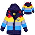 Do Inverno do bebê Crianças outerwear roupa Dos Miúdos jaquetas casaco com capuz para baixo meninos meninas casaco listrado roupa do bebê para meninos meninas