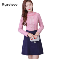 Ryseleco New Women Winter Basic Dresses OL Casual Formal Wear Ruffles Floral Lace Patch Hit Color