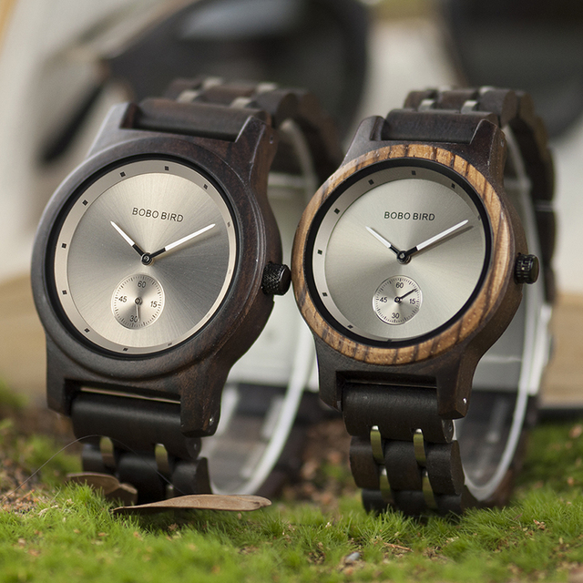 BOBO BIRD Couple Watch Lover's Men Watches Women Wooden Quartz Ladies Clock Gift