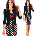 Women's Dress Fashion Floral Print Work Business Pencil Bodycon Dress Womens Faux Jacket One-Piece Belted Sheath Dress Vestidos