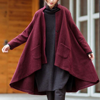 ZANZEA Winter Retro Women Stand Collar Long Sleeve Pockets Button Woolen Blend Coat Loose Asymmetric Hem Jacket Cape Plus Size