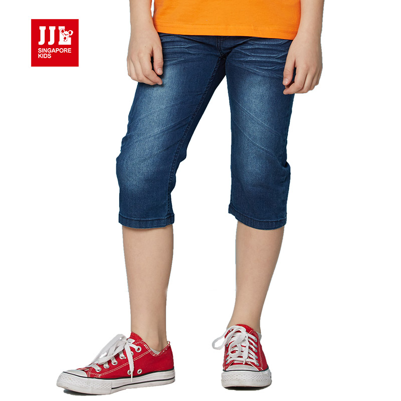 ФОТО boys jeans knee length boys cropped pants children trouser half length kids clothes summer boys trouser kids demin short