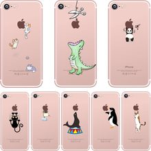 ciciber Phone Cases Cute Animals Spoof Crocodile Cat Panda Penguin Soft Silicon Case Cover for IPhone 7 6 6S 8 Plus 5S SE X Capa(China)