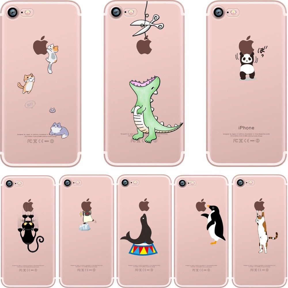 ciciber Phone Cases Cute Animals Spoof Crocodile Cat Panda Penguin Soft Silicon Case Cover for IPhone 7 6 6S 8 Plus 5S SE X Capa