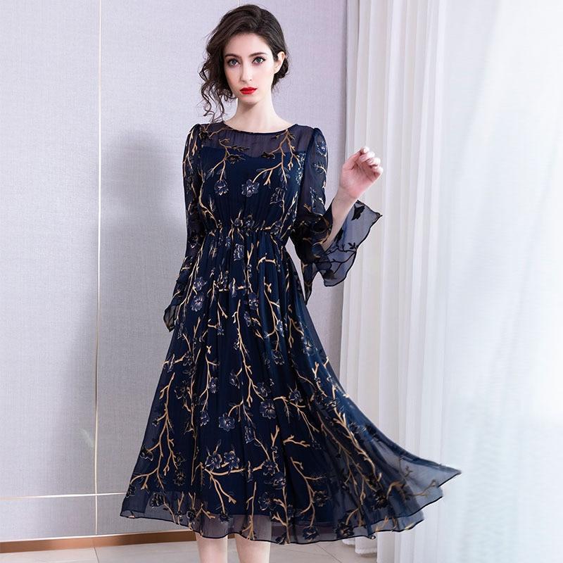 Summer 2019 New Silk Horness Sleeve Lower-waist Temperament Slim Mulberry Silk Dress Mid-long Dresses