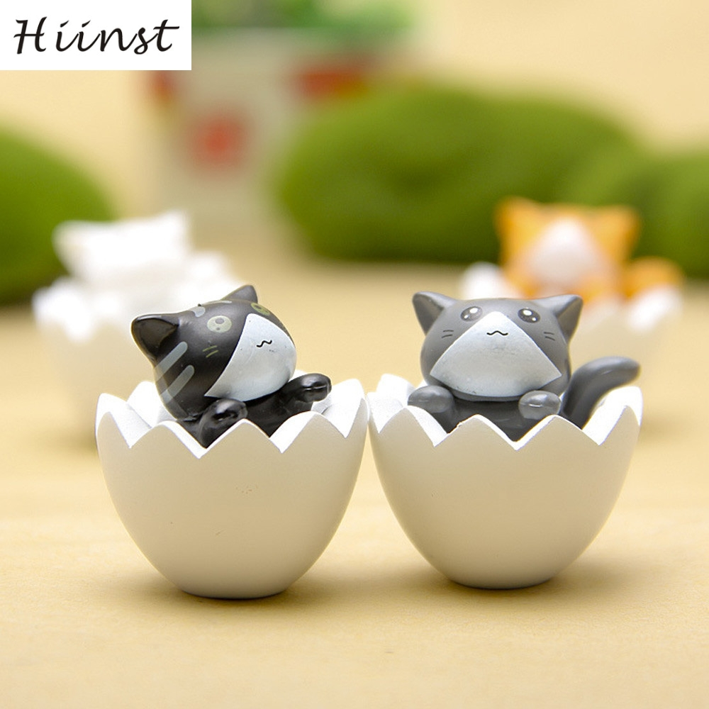 HIINST funny eggshell cat yellow 4PC Reliever 3cm Mini Cute Lovely Cat Vivid Cartoon Figure Model Collect Toy p30 Ag15 gift