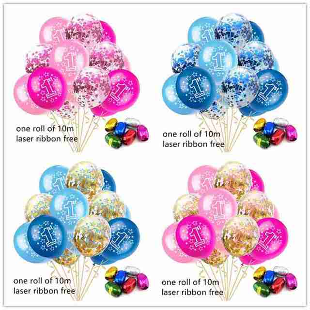 15pcs 1st Birthday Number Balloons Air One 1 Year Old First Party Decoration Kids Latex Balloon Baby Shower Boy Girl