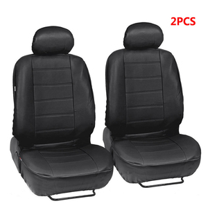 Image 2 - 2pcs Black PU Leather Car Seat Cover for All Car SUV Truck Car Seat Protector Airbag Compatible