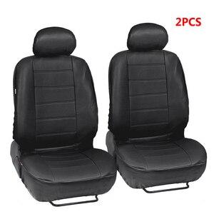 Image 2 - Funda de asiento de cuero PU para todos los coches, Protector de asiento de coche, SUV, camión, Airbag Compatible, 2 uds.