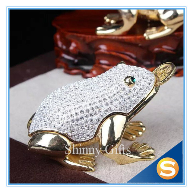Feng Shui Frog Toad Trinket Box Jewelry Box with Inlaid Crystal