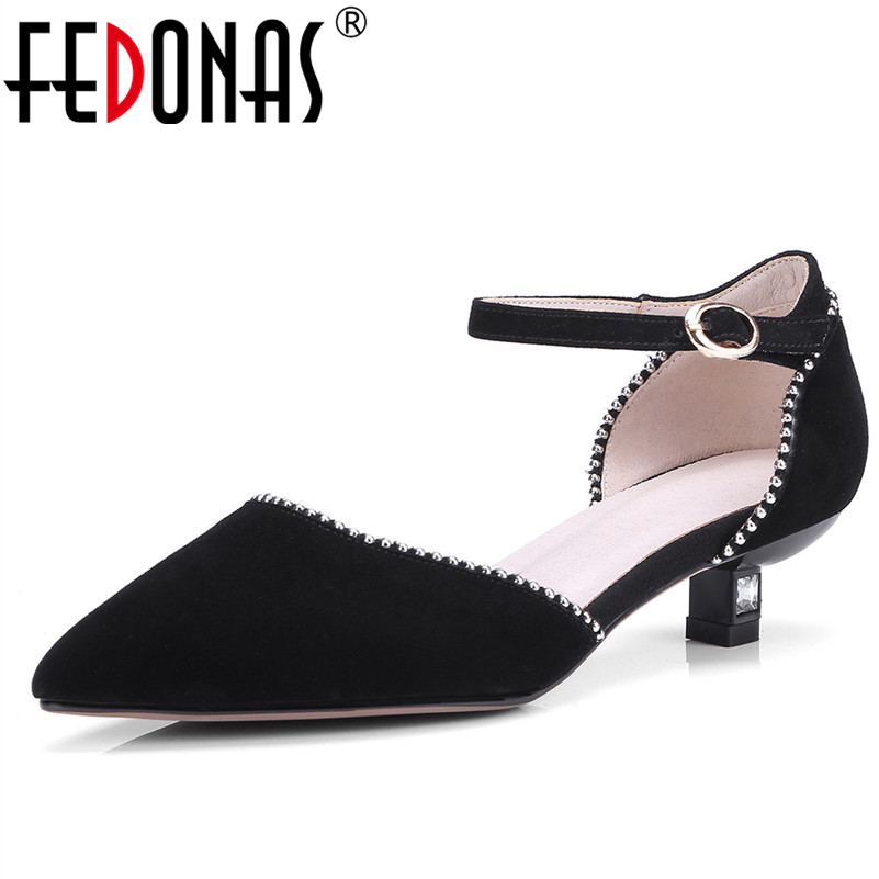 FEDONAS Mary Jane Women Pumps Genuine Leather Shoes Woman Sexy Pointed Toe Fashion Dress Party Wedding Shoes High Heels Pumps newest flock blade heels shoes 2018 pointed toe slip on women platform pumps sexy metal heels wedding party dress shoes