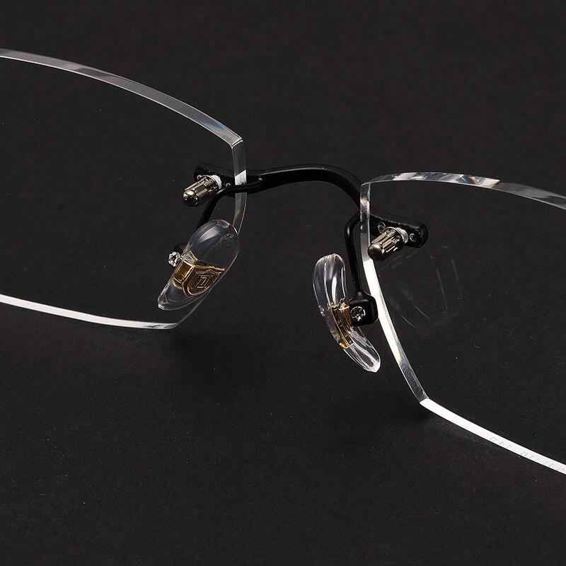 Qualität Randlose Linse Retro Computer Optische F118 Brille Black Klar Männer Neue Verschreibungspflichtige Marke Hohe Legierung tfaUxf