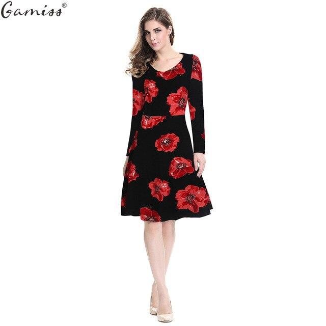 1cd7a7968d322 Gamiss Women Floral Dress Retro Rockabilly Elegant Allover Floral Print Long  Sleeve Bodycon Plus Size Dress Party Female Vestido