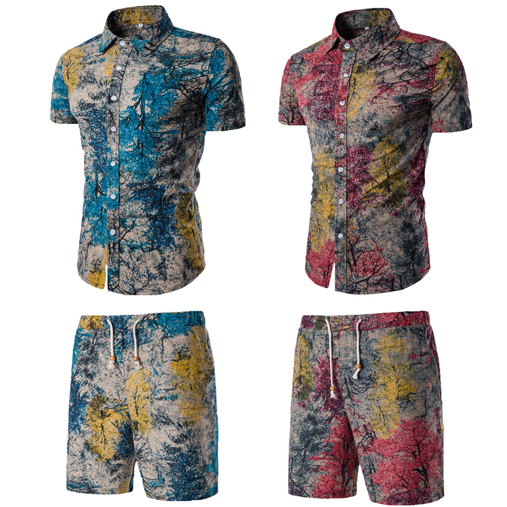 High Quality Casual Summer New Comfortable Fashion Short Sleeve And Short Pants Printing Men's Suit Travel Teenage