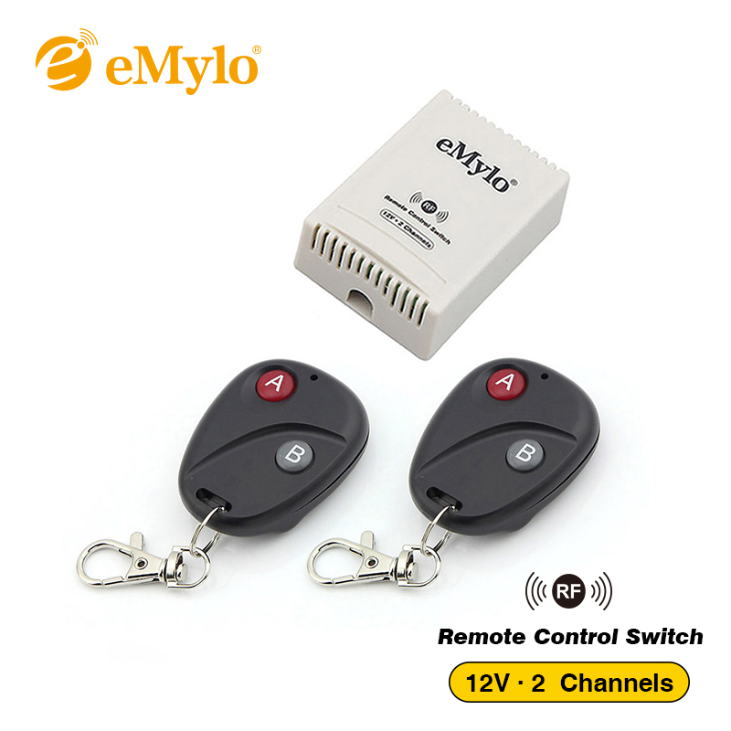 eMylo DC 12V 2CH Wireless Remote Control Switch Relay Controller Transmitter Intelligent Code Momentary Lamp Led Light 433Mhz 315 433mhz 12v 2ch remote control light on off switch 3transmitter 1receiver momentary toggle latched with relay indicator