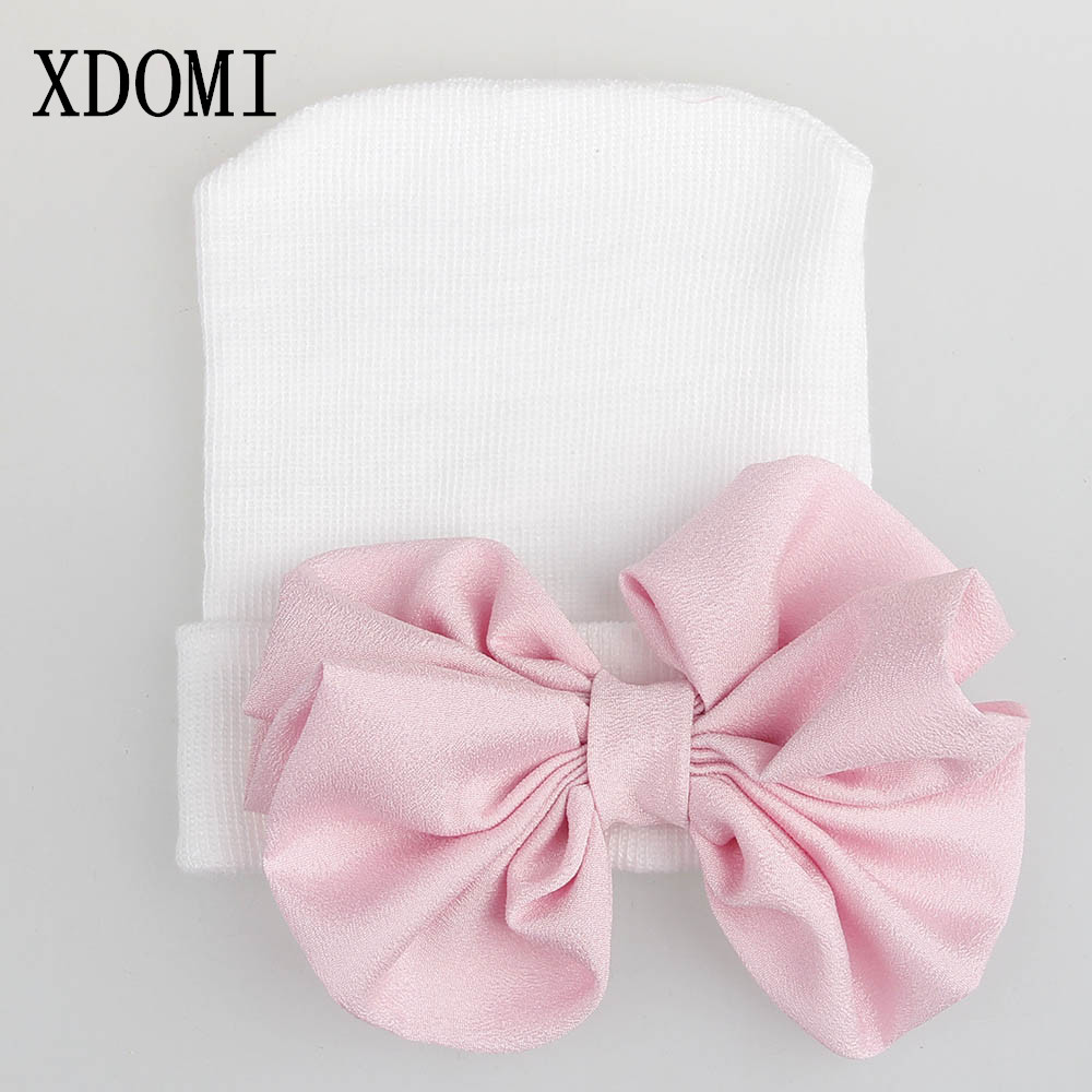 XDOMI 0-3 Months Hospital Hats Cotton   Beanie   Caps With Bow Soft Knitted Cap Tire Striped Girls boys Caps Photography Hats