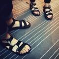 Couples men and women beach black tide Korea Harajuku wave Rome sandals Velcro SUB2623