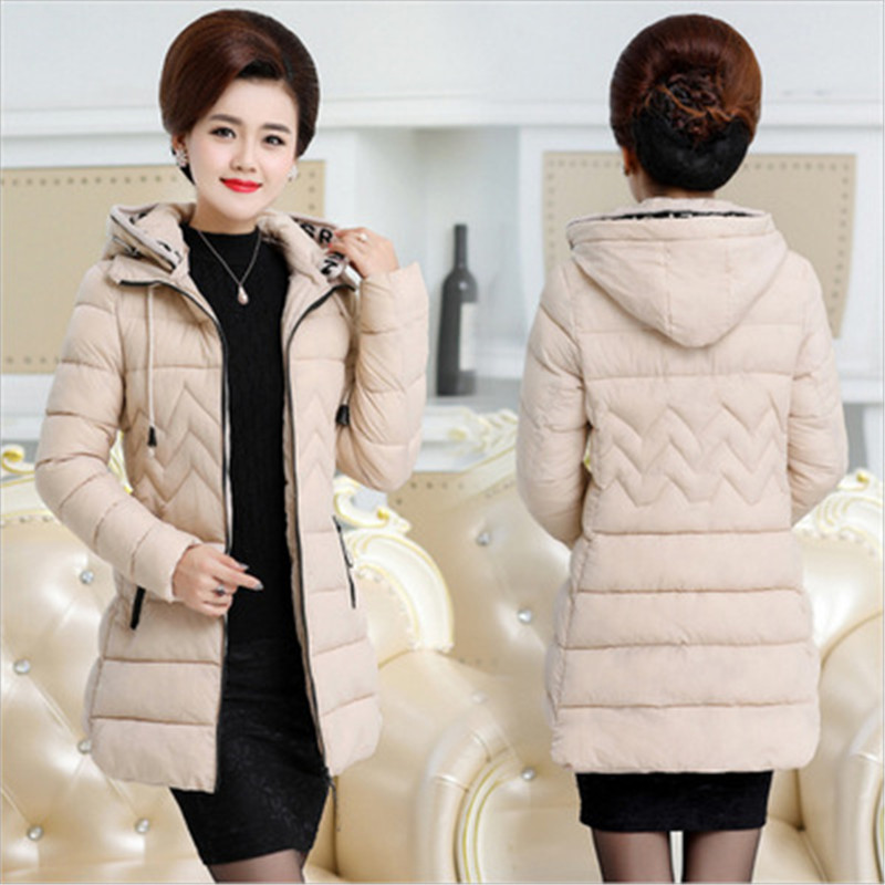 New Middle-aged Women Cotton Jacket Coats Winter Thick Warm Parkas Plus size Hooded Slim Cotton Jackets Medium length OKXGNZ1257