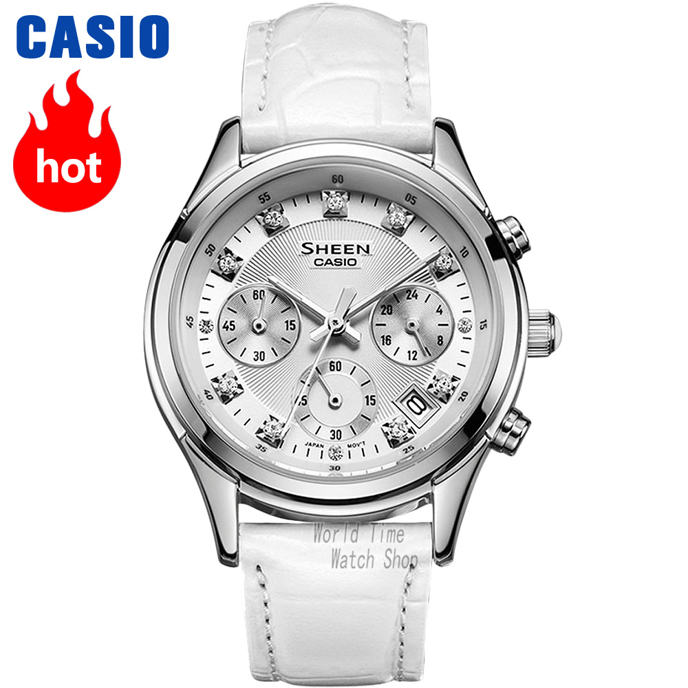 Montre Casio Sheen montre Quartz femme strass mode tendance bracelet en cuir montre pointeur SHE-5023