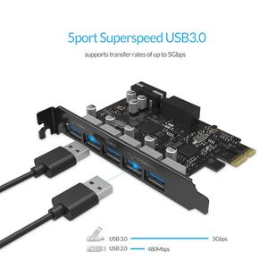 Image 3 - ORICO USB 3.0 PCI E 5 יציאות רכזת מתאם חיצוני בקר אקספרס כרטיס עם 4 פינים מחבר מתח כבל