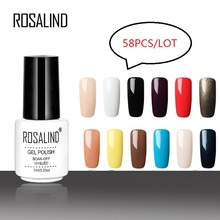 ROSALIND gel nail polish set vernis semi permanent Free Shipping Nail Art primer Soak Off top coat White Bottle Gel Varnish