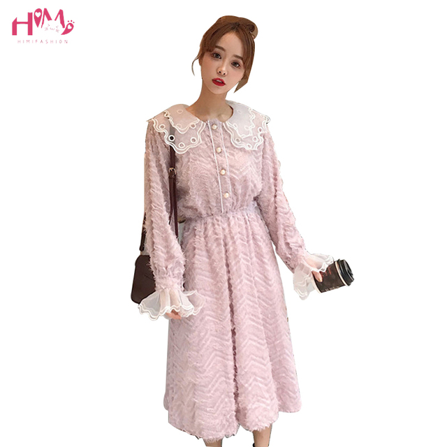 20cca621883 Korean Style Women Sweet Dress Tassel Lace Patchwork Doll Collar Princess  Party Dress Long Sleeve Knee-length A-line Dresses