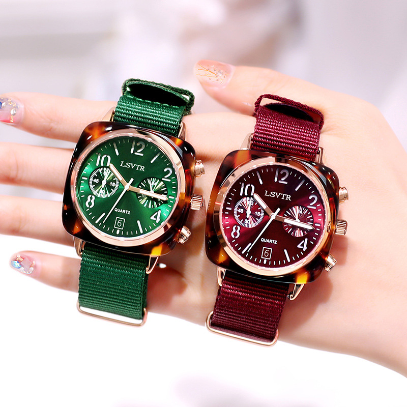 Fashion Women 's Nylon Band Luxury Watches Women Dress Bracelet Watch Fashion 2019 Analog Quartz Diamond Wrist Watches Clock Red