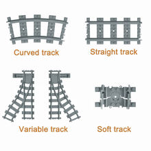 City Trains Flexible Track Accessory Flexible Rail Switch Building Block Bricks Kids Toys Compatible With Legoe Tracks 7895 7499(China)