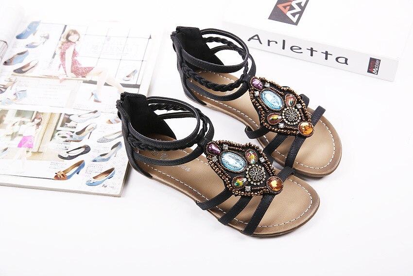 Chaussures Doux 2018 Confortable Flops Femmes Flip Sandales Femme Bohême 3138 Plage Wedge Vintage D'été Strass FBOTwqdB