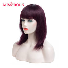 MISS ROLA #99J Bob Wig Straight Short Human Hair Wigs Brazilian Non-Remy Hiar 100% Human Hair Wigs For Black Women Machine Made(China)