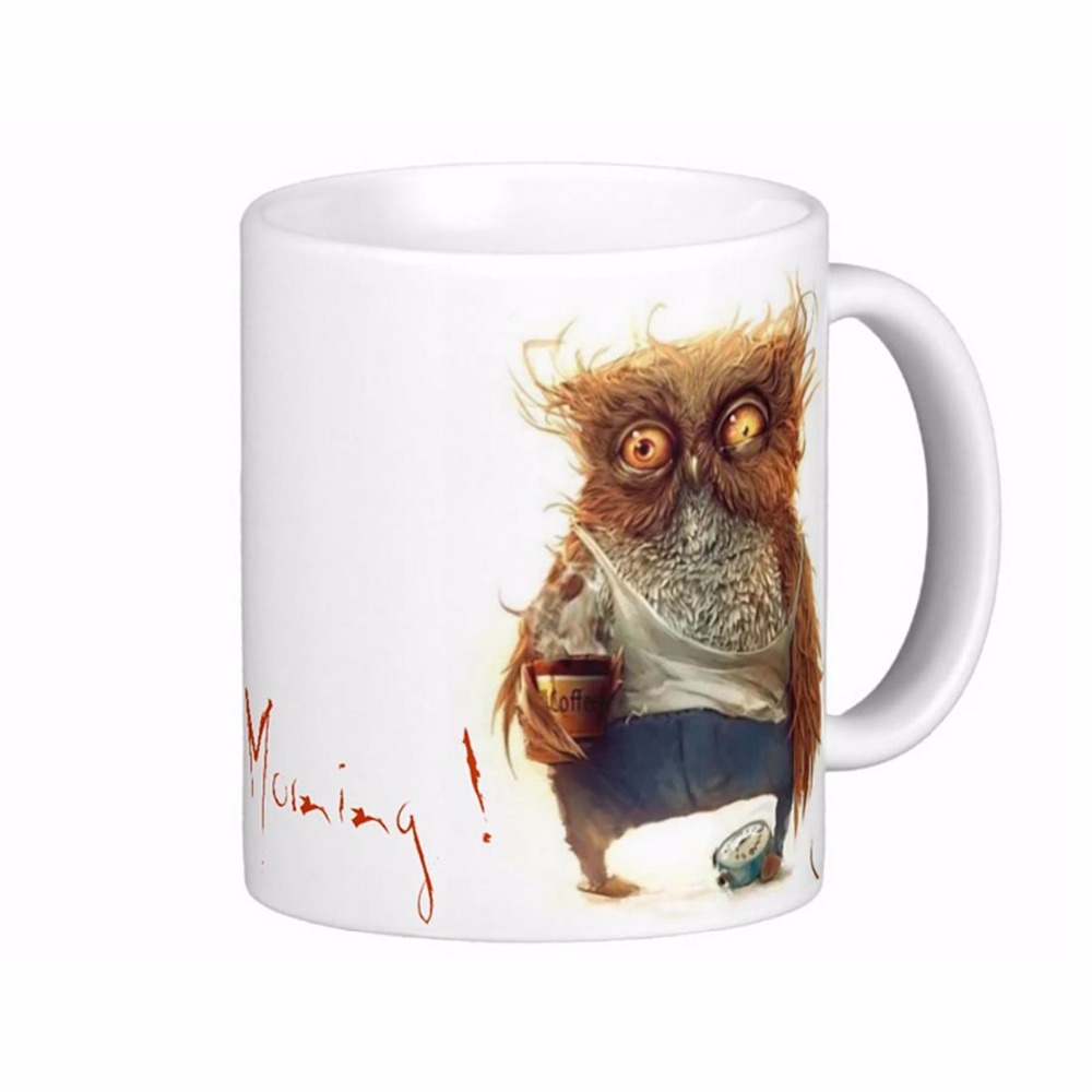 drunk owl white coffee mugs tea mug customize gift by lvsure ceramic cup mug travel coffee mugs. Black Bedroom Furniture Sets. Home Design Ideas