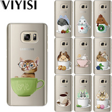 VIYISI For Samsung Galaxy s8 A5 2017 Case S9 Plus Phone case Cover J7 J5 J3 A5 A3 2015 2016 2017 S6 S7 Edge Teacup Rabbit Fundas