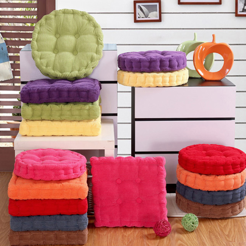 US $7.85 36% OFF|Thick Corduroy Elastic Chair Cushions For Kitchen Chair  Solid Color Seat Cushion Square Floor Cushion Machine Washable EJ672720-in  ...