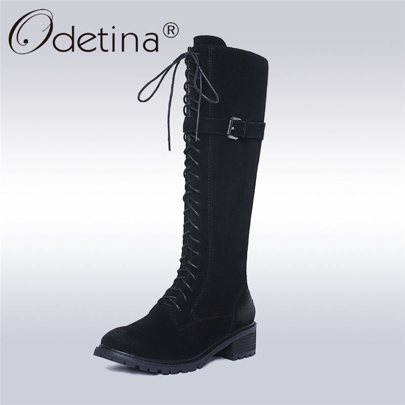 Odetina 2017 New Fashion Genuine Leather Women Cow Suede Lace Up Riding Boots Round Toe Mid Heel Winter Warm Thick Plush Shoes riding winter boots feathers 2015 new fashion korean metal decoration genuine leather elevator pull on pure color round toe
