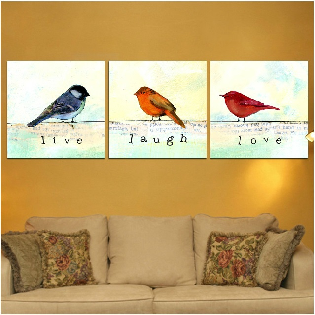 Canvas painting oil printed canvas art 3 panels set lovely birds wall pictures home wall