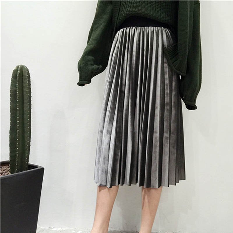 New 2019 Autumn And Winter High Waisted Skinny Female Velvet Skirt Pleated Skirts Pleated Skirt Free