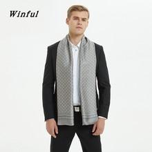 Winful Мужской осенне-зимний винтажный роскошный шарф, мужской шарф из искусственного шелка с принтом, деловые повседневные шарфы высокого качества