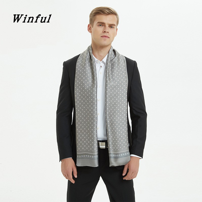 Winful Men 2019 Autumn Winter Vintage Luxury Scarf Men's Print Imitation Silk Scarf Business Casual Scarves High Quality