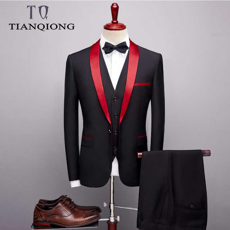 Marke Männer Anzug 2019 Hochzeit Anzüge für Männer Schal Kragen 3 Stück Slim Fit Burgund Anzug Herren Royal Blau Smoking jacke QT977