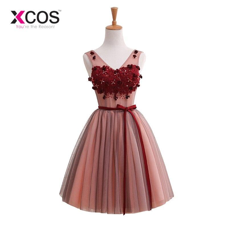XCOS Burgund Short   Bridesmaid     Dress   2018 New Elegant Wedding Party   Dresses   Backless Sexy V Neck Formal Prom   Dress   robe de soiree