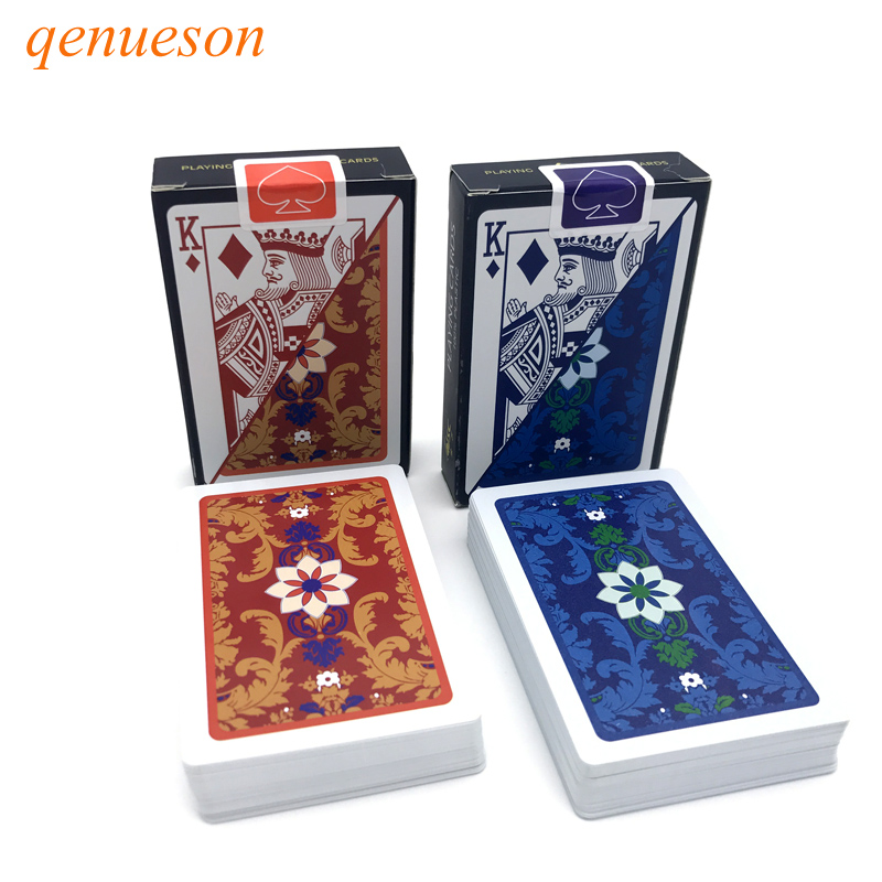 New 2Sets/Lot pattern Baccarat Plastic Waterproof Playing Card Game Texas Holdem Poker Cards Board Games 2.28*3.46inch qenueson ...