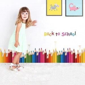 Цветные карандашные наклейки на плинтус и стены в мультяшном стиле для детской комнаты, украшение для детской комнаты, настенное художеств...