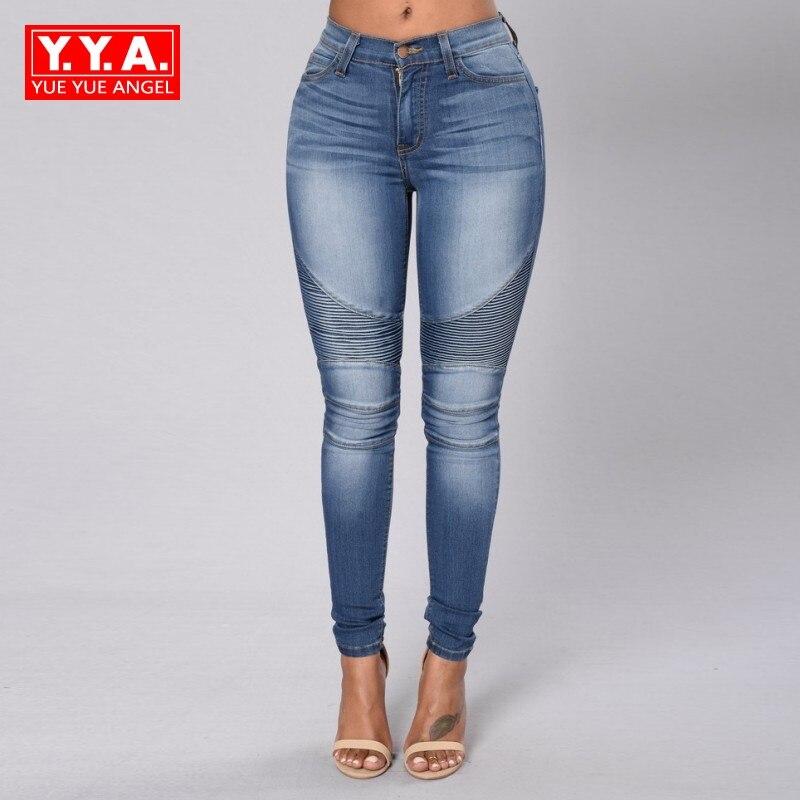 Бесплатная доставка Осень Slim Fit плиссированные модные джинсовые брюки для Для женщин карманов промывают водой Повседневное Roupas feminina каранд...