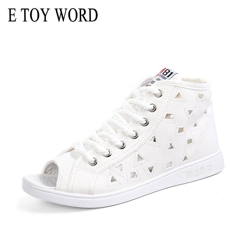 E TOY WORD Women Shoes 2018 Summer White Sneakers Open Toe Breathable Trainers Shoes Women flat Lace Up Canvas Shoes word up