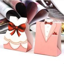 БЕСПЛАТНО 1000 пар = 2000 шт./партия, коробка конфет для жениха и невесты для свадьбы и вечерние, блестящая отделка, розовый, с фабрики
