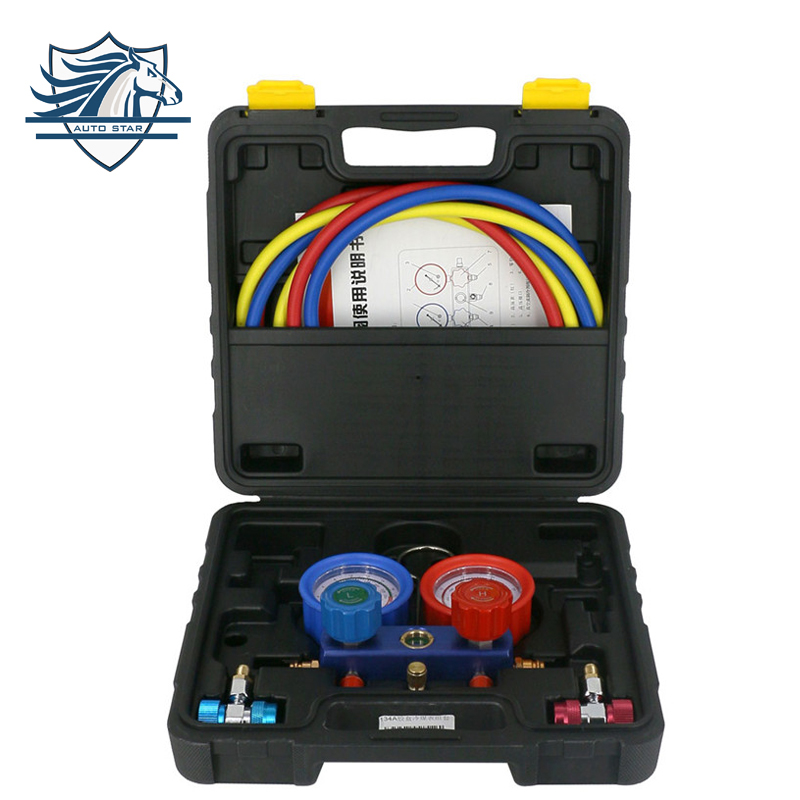 Hot Sale !!! Manifold Gauge Set Diagnostic Tool R12,R22, R404a, R134a for Auto Air Conditioner Refrigerant digital manifold gauge set with charing hose and quicker coupler for room air conditioner repairing or refrigerant charging