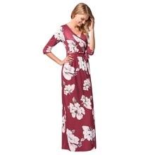 فستان فوشيا صيفي أنيق طويل بأكمام ميدي و حزام للخصر