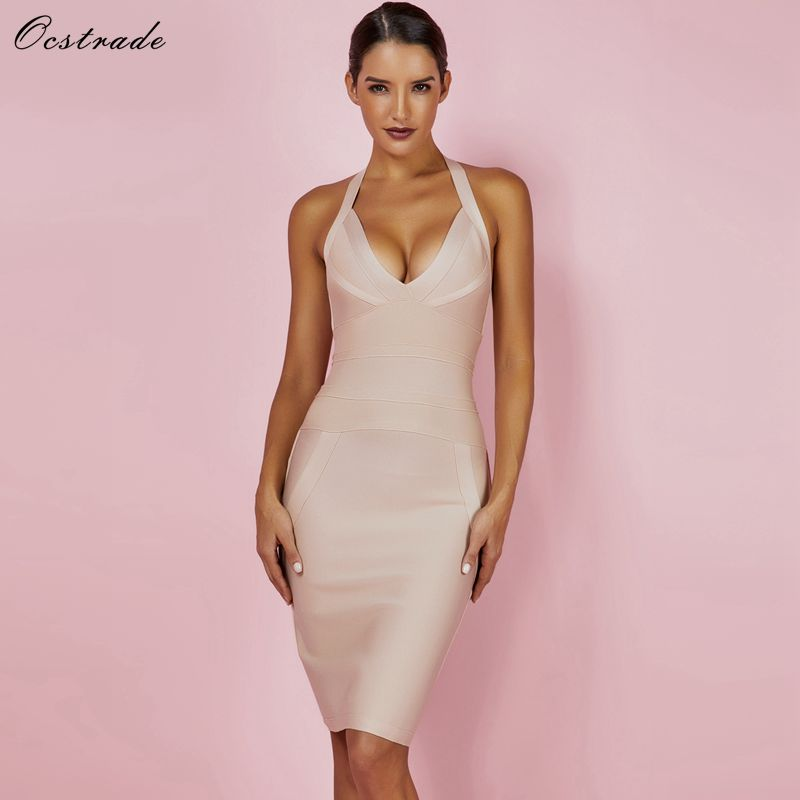 Ocstrade Summer Womens Bandage Dresses New Arrival 2019 Bodycon Nude Dress Halter Sexy High Quality