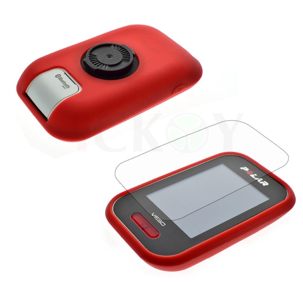 imágenes para Al aire libre Bicicleta de Carretera/Accesorios de Bicicleta de Montaña De Goma Roja Case + Screen Protector Protector de la Película para el Ciclismo GPS Polar V650